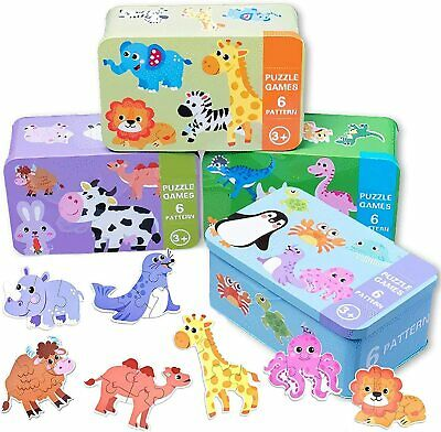 £6.95 • Buy Baby Animal Jigsaw Tin Puzzle Jigsaw Early Learning Baby Kids Educational Toys
