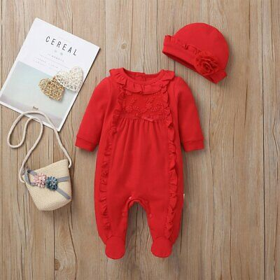 #27 Baby Girls Spanish Romany Red Embroidered Jumpsuit All In One & Hat Set • 13.49£