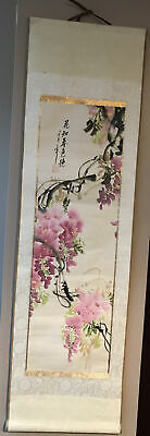 Vintage Oriental Chinese Wall Hanging Scroll Beautifully Hand Painted • 6.99£