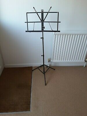 New . Black Metal  Adjustable  & Folding Music Stand • 6£