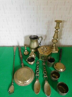 Lot Of Vintage Assorted Brass Metalware To Include Candlesticks,Tankard,Bowls • 7.99£