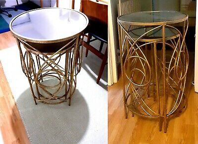Set Of 2 Vintage Side/Coffe Tables, Mirrored Top, Metal Gold Finish, Plant Stand • 39.99£
