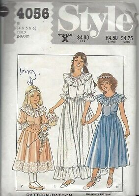 Style Girls' Lined Bridesmaid's Or Party Dress Sewing Pattern-4056-cut To Size 4 • 3£