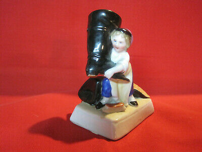 $ CDN85.89 • Buy Antique Porcelain Spill Vase Figurine, Boy Polishing Giant Boots