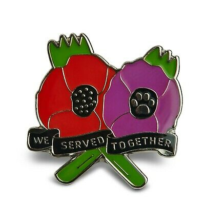 Red & Purple Poppy Lapel Badge Remembering Animals  • 6.99£