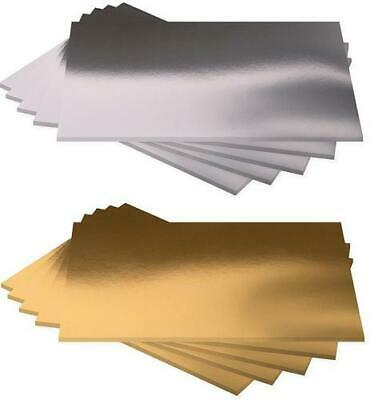 Pack 10 A4 Bright Metallic Gold Silver 350gsm Mirror Craft Card Foiled Board • 4.95£