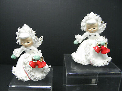 $ CDN52.57 • Buy 2 VINTAGE HOLT HOWARD Christmas Angels WITH BELLS Candle Holders Figurines