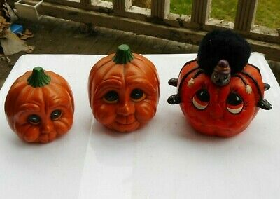 $ CDN3.95 • Buy LOT 3 Vintage Halloween Pumpkins Art Pottery Artist Signed Gail Gerard Glasses