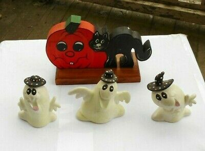 $ CDN3.95 • Buy LOT Vintage Halloween Ghosts Figurines Glow In The Dark Gail Gerard Wooden Cat