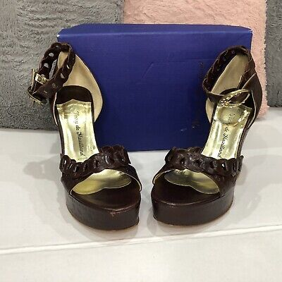 Terry De Havilland 'Beatrix' Brown And Bronze Platform Shoes Size 39 • 90.45£