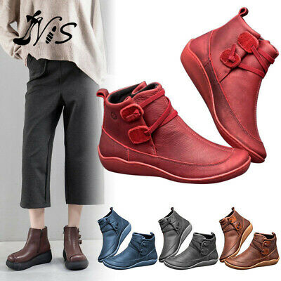 Women's Arch Support Ankle Boots Multi Styles Colors Wedge Flat Sneakers Shoes • 12.39£