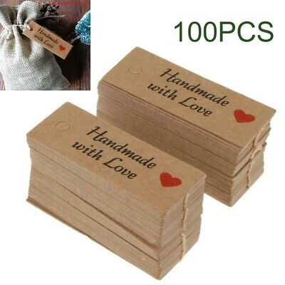 100pcs Kraft Paper Gift Tags Handmade With Love Party Wedding Favor Label `uk • 5.30£