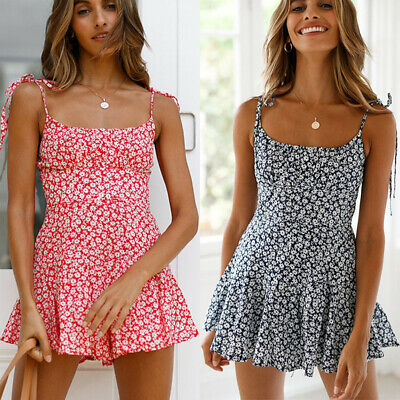 AU17.47 • Buy Womens Strappy Floral Jumpsuit Boho Summer Beach Holiday Party Mini Playsuit AU