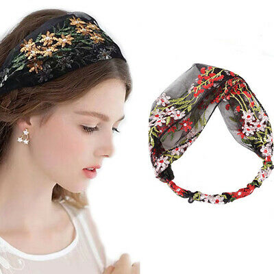 $ CDN4.20 • Buy Women Sweet Embroidered Elastic Headband Lace Turban Hairband Hair Accessories