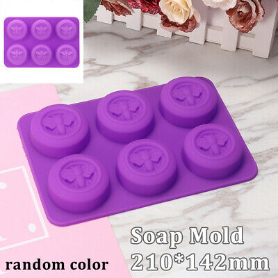 6 Cell Round Honey Bee Silicone Mould Baking Moon Cake DIY Handmade Soap Mold CT • 3.99£