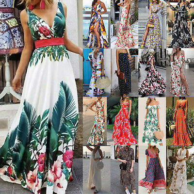 AU14.24 • Buy Women Sleeveless Strappy Floral Long Maxi Split Swing Dress Summer Evening Party
