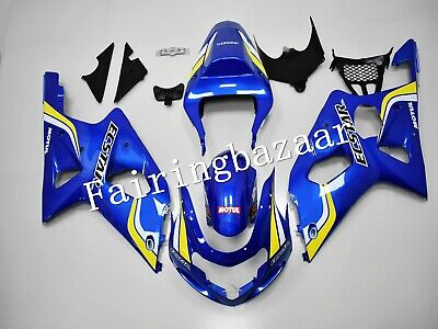 $535 • Buy Fit For 2000-2002 GSXR1000 Blue Yellow White ECSTAR ABS Injection Fairing Kit