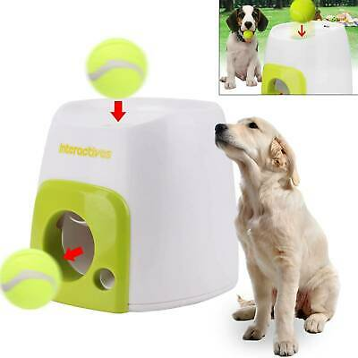 Auto Pet Dog Treat Tennis Ball Toy Fetch Thrower Throw Up Hyper Game Training • 19.99£
