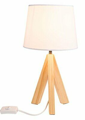 Wooden Tripod Lamp Small Side Table Light Modern White Lampshade Decor Bedside  • 24.99£