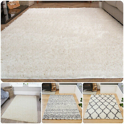 Cream Ivory Shaggy Rugs Small Large Plain Geometric Trellis Shaggy Bedroom Rug • 24.95£
