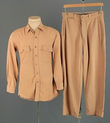 Men's 1940s WWII USAAF Pinks Officers Shirt S Pants 28x28 40s WW2 Vtg Air Force • 72.41£