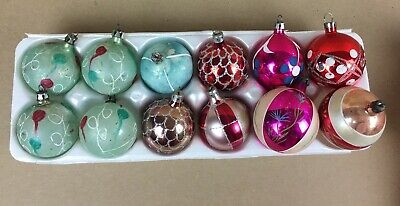 $ CDN6.58 • Buy Vintage Polish Glass Christmas Ornaments (12) Hand Painted Mica ~ Mixed Lot