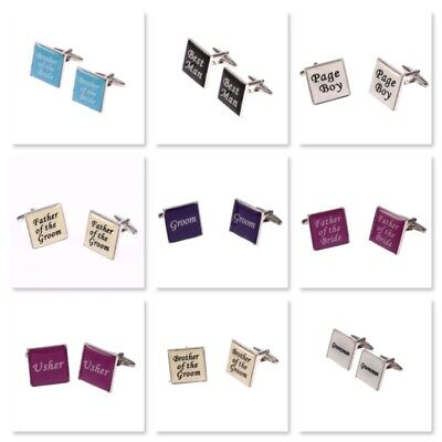 £3.49 • Buy Wedding Cufflinks Square Groom, Best Man, Usher Etc - 6 Colours Available!