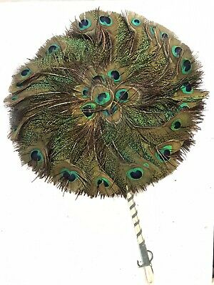 Antique Peacock Feather (Real) Hand Fan - Round Double Sided - Vintage • 55£