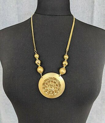 £95 • Buy Lovely Vintage Gold-tone Cameo Faux Pearl Pendant Necklace By Monet Jewellery
