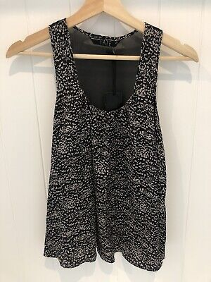 AU25 • Buy FATE CLOTHING Black Speckle Print Splice Detail Silk Top - Size S -NWT