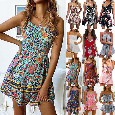 AU18.52 • Buy Womens Strappy Floral Sleeveless Playsuit Jumpsuit Summer Beach Casual Rompers