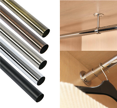 £24.95 • Buy Round Wardrobe Rail Hanging Clothes Steel Tube Centre End Support Brackets