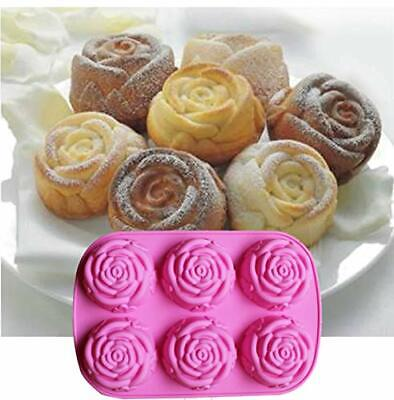Roses Flowers Silicone Mould Cake Bakeware Melts Ice Cube Chocolate Candle Jelly • 6.99£