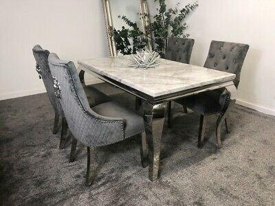 £371.07 • Buy Louis Grey Marble 120CM Dining Table + Grey Lion Knocker Velvet Dining Chairs
