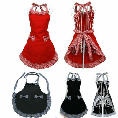 Women's Lady Kitchen Cooking Cleaning Bow Knot Cute Apron With Pockets Ruffle UK • 8.25£