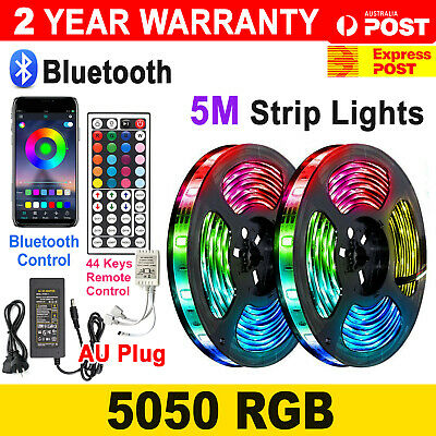 AU21.95 • Buy 12V 5M 5050 RGB LED Strip Lights Waterproof 44key Remote / BT Controller Adapter