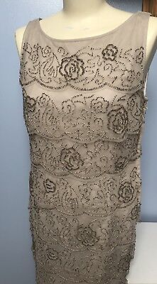 Gina Bacconi Art Deco Flapper Gatsby Beaded Scalopped Tiered Dress 12 38 £260 • 94.99£