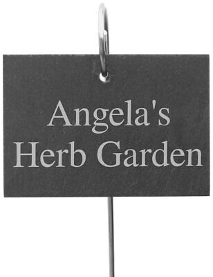 £9.99 • Buy Personalised Outdoor Garden Slate Sign With Metal Stake Hanger - 13x10cm - Free