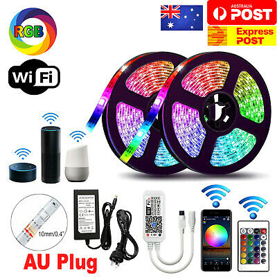 AU34.95 • Buy 12V 5M Smart Wifi 300 RGB LED Strip Lights Waterproof Alexa Echos Google Home