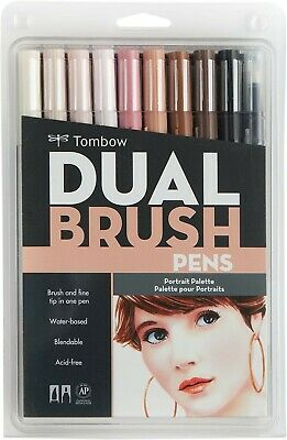 Tombow 56170 Dual Brush Pen Art Markers - Portrait, 10-Pack - NEW • 28£