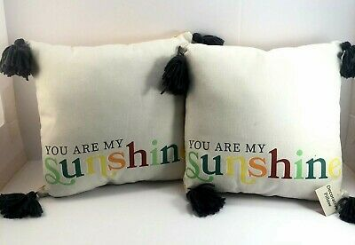 YOU ARE MY SUNSHINE Indoor/Outdoor Decorative Reversible Throw Pillows 14X14  • 11.85£