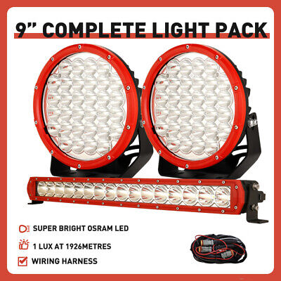 AU148.96 • Buy New RED OSRAM 22 In LED Light Bar 9  Round Driving Lights Spotlights Offroad SUV