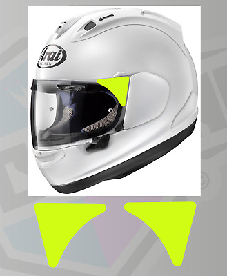High Visibility Neon Yellow Reflective Decals Stickers For Arai Helmet Visors • 2.25£