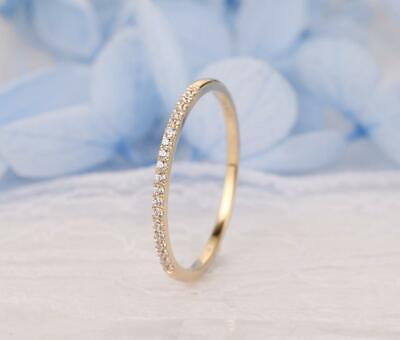 14k 14ct Yellow Gold Over Wedding Band 1ct Diamond Eternity Ring Sizes 4 5 6 7 8 • 59.99£