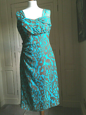 AU39.30 • Buy LK Bennett UK14 Turquoise & Brown 100% Silk Dress, Cocktail Party Dinner Wedding
