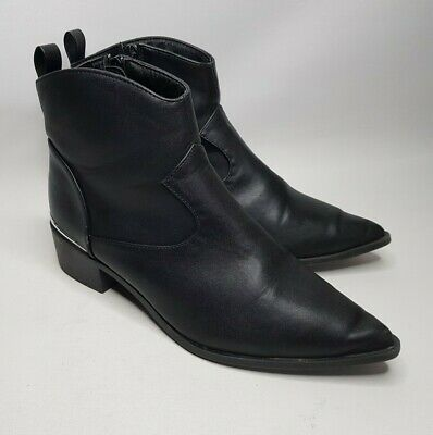London Rebel Black Leather Look Pointed Toe Ankle Boots Size UK 5 EUR 38 • 8.99£