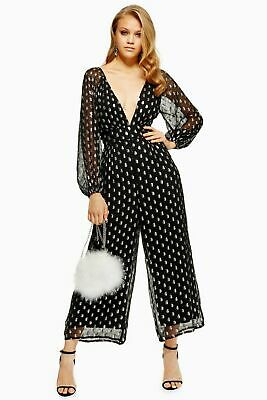 Ex Topshop Black And Silver Jumpsuit • 10£