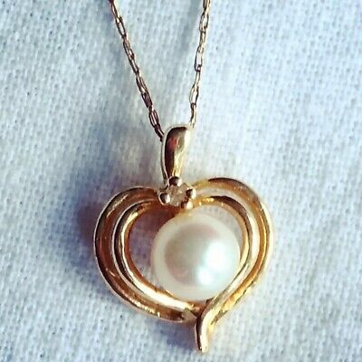 $149.99 • Buy 14k Solid Gold Genuine Diamond And Mabe Pearl Heart Pendant On Chain Necklace
