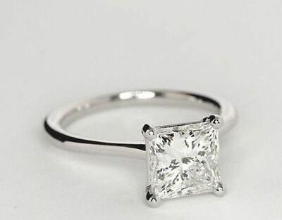 Princess Cut Solitaire Diamond Engagement Ring In 14k White Gold Finish Size I-Q • 59.99£