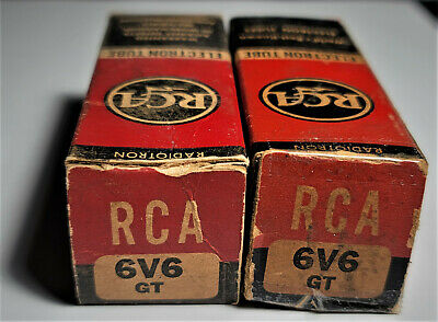AU228.81 • Buy 6V6GT RCA VINTAGE TUBES SMOKED GLASS MATCHED PAIR NOS (1950's) *CURVE TRACER